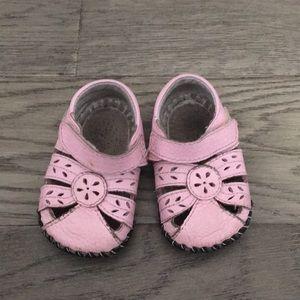 Pediped pink sandals, 6-12 months